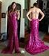 Sleeveless Fuchsia Beaded Embellished Sequin Mermaid Dress With Slit