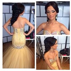 Strapless Sweetheart Beaded Bodice Drop Waist Tulle Mermaid Prom Dress