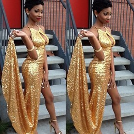 Gold Floor Length Sleeveless Slit Sequin Prom Dress With Keyhole Front