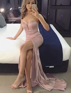 Simple Floor Length Strapless Sweetheart Neckline Prom Dress With Slit