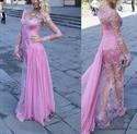 Pink Illusion Long-Sleeve Lace Overlay Long Dress With Chiffon Train