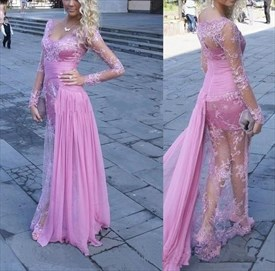 Pink Illusion Long-Sleeve Lace Overlay Long Dress With Chiffon Train