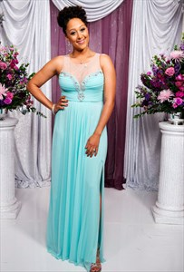 Sleeveless Beaded Sweetheart Sheer Neckline Chiffon Long Prom Dress