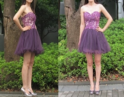 A-Line Knee Length Strapless Lace Bodice Tulle Skirt Homecoming Dress