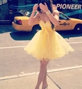 Short Yellow Strapless A-Line Tulle Homecoming Dress With Beaded Top