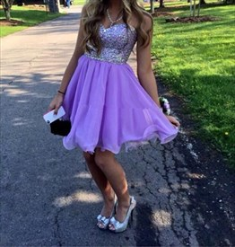 Strapless Knee Length A-Line Purple Homecoming Dress With Sequin Top