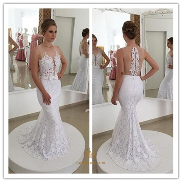 Sleeveless Floor Length Mermaid Lace Wedding Dress With Sheer Neckline