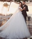 Off The Shoulder Lace Embellished Tulle Skirt Ball Gown Wedding Dress