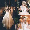 Sleeveless Backless A-Line Lace Embellished Wedding Dresses With Bow