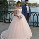 Light Pink Off The Shoulder Lace Embellished Ball Gown Wedding Dress