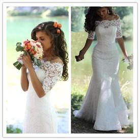 Half Sleeve Off The Shoulder Floor Length Mermaid Lace Wedding Dress