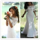 Half Sleeve Off The Shoulder Floor Length Mermaid Lace Wedding Dress