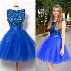 Royal Blue Sleeveless Beaded Bodice Tulle Skirt Short Homecoming Dress