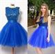 Royal Blue Sleeveless Beaded Bodice Tulle Skirt Short Homecoming Dress
