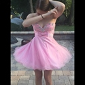 Lovely Pink Strapless Bead Embellished Short Tulle Homecoming Dress