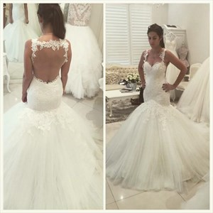 Elegant Sleeveless Drop Waist Mermaid Wedding Dress With Keyhole Back