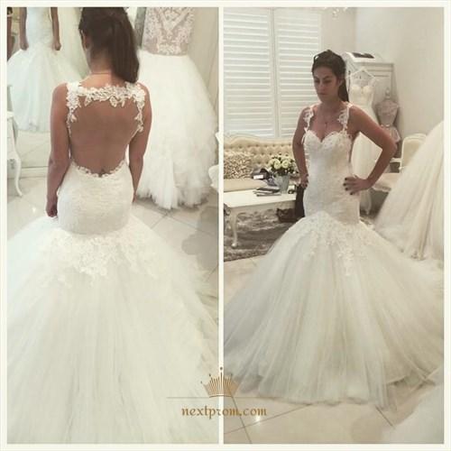 Elegant Sleeveless Drop Waist Mermaid Wedding Dress With Keyhole Back