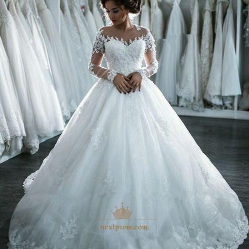 Illusion White Long Sleeve A-Line Floor Length Applique Wedding Dress