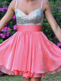 Coral Sleeveless Spaghetti Strap Beaded Short Chiffon Homecoming Dress