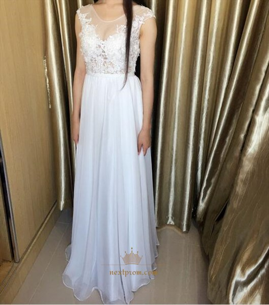 Illusion Neckline Cap Sleeve Chiffon Long Prom Dress With Keyhole Back