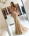 Champagne Applique Half Sleeve Floor Length Mermaid Lace Prom Dress