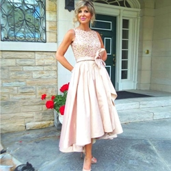 Elegant Sleeveless Ankle Length High Low Prom Dress With Beaded Bodice