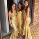 Champagne Strapless Sweetheart High Low Long Sequin Bridesmaid Dress