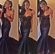 Navy Blue Floor Length Strapless Sweetheart Mermaid Dress With Beading