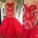 Red Strapless Drop Waist Tulle Mermaid Prom Dress With Embellishment