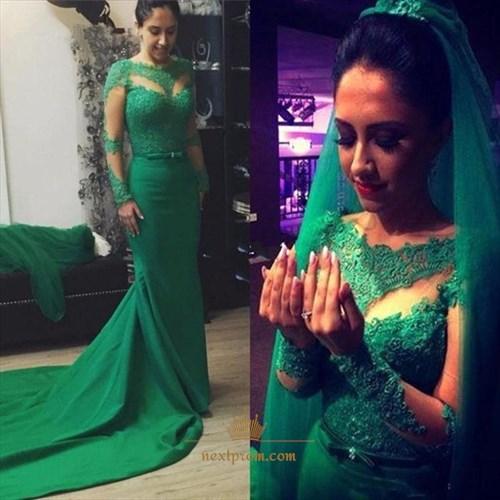 Emerald Green Long-Sleeve Lace Top Floor Length Mermaid Wedding Dress