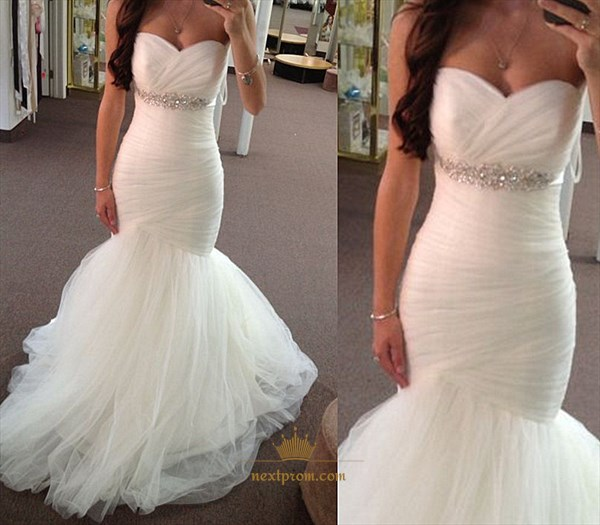Strapless Ruched Bodice Drop Waist Mermaid Wedding Dress With Beading