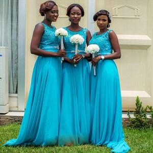 Aqua Blue Sleeveless Lace Bodice Chiffon Skirt A-Line Bridesmaid Dress