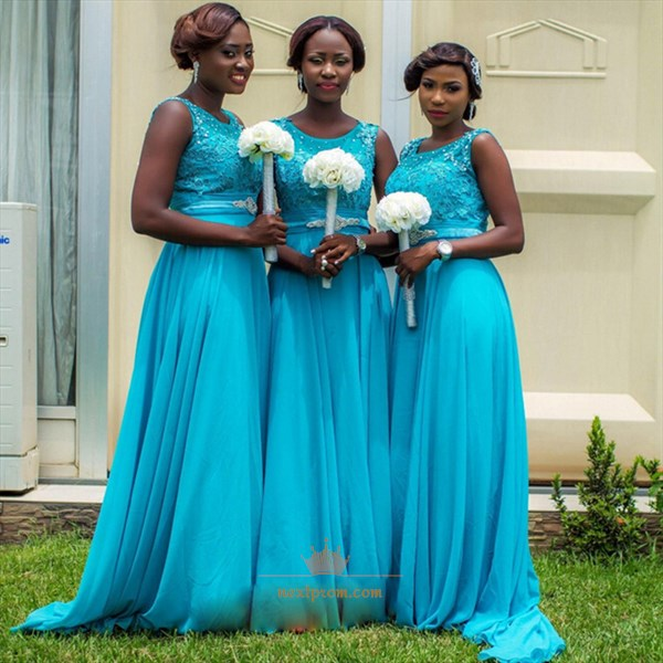 Aqua Blue Sleeveless Lace Bodice Chiffon Skirt A-Line Bridesmaid Dress