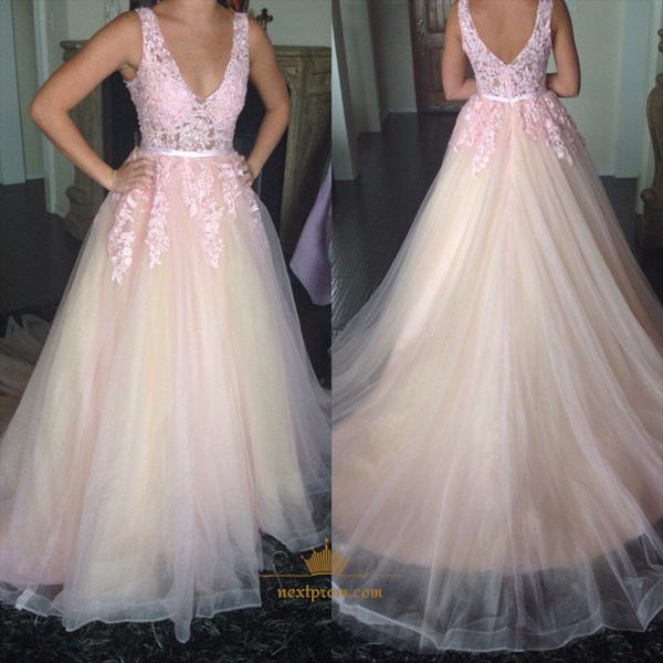 Pink Sleeveless A-Line V-Neck Lace Applique Prom Dress With Open Back