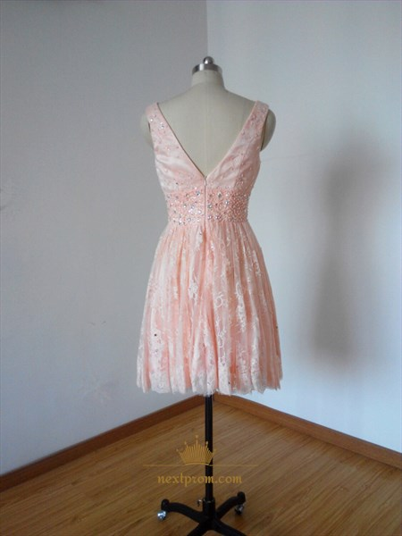 Pink V-Neck A-Line Sleeveless Short Lace Homecoming Dress With Beads