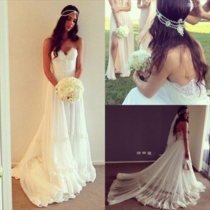 Floor Length A-Line Lace Embellished Strapless Chiffon Wedding Dress