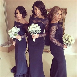 Off The Shoulder Long Sleeve Mermaid Bridesmaid Dress With Lace Top