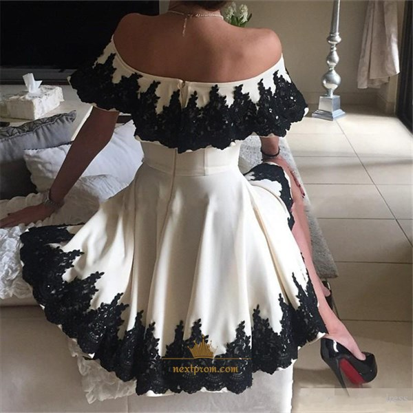 Beautiful Knee Length Off The Shoulder A-Line Lace Embellished Dress