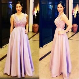 Sleeveless A-Line V-Neck Floor Length Evening Dress With Beaded Bodice