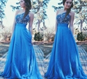 One Shoulder Beaded Bodice Floor Length A-Line Chiffon Evening Dress