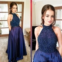 Elegant Navy Blue Halter Beaded Bodice Floor Length A-Line Prom Dress