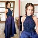 Elegant Navy Blue Halter Beaded Bodice Floor Length A-Line Prom Dress