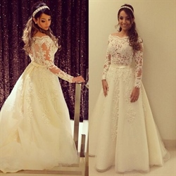 Illusion Off The Shoulder Long-Sleeve Lace Embellished Wedding Dress