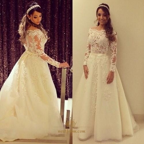 Illusion Off The Shoulder Long-Sleeve Lace Embellished Wedding Dress