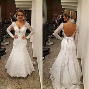 Backless V-Neck Long Sleeve Mermaid Floor Length Lace Wedding Dress