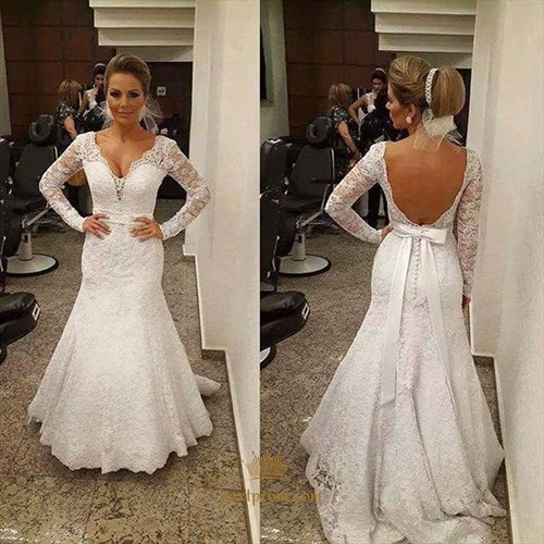 Backless V-Neck Long Sleeve Mermaid Floor Length Lace Wedding Dress