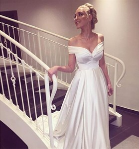Elegant Simple White Floor Length Off Shoulder A-Line Wedding Dress