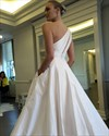 Simple Elegant One Shoulder A-Line Floor Length Satin Wedding Dress