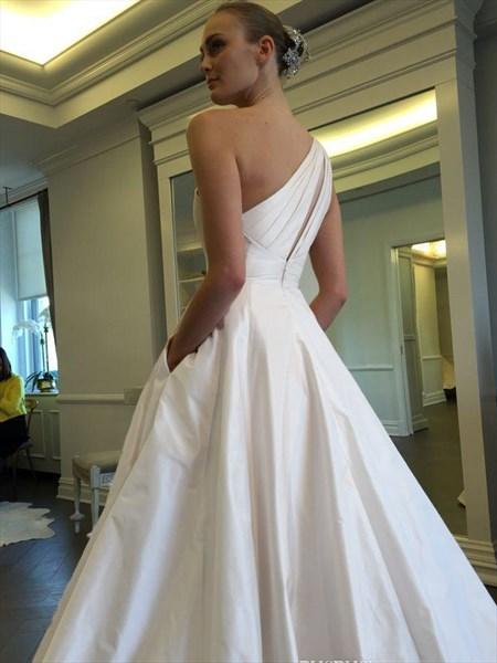 Simple Elegant One Shoulder A-Line Floor Length Satin Wedding Dress