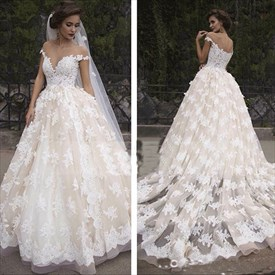 Elegant Off The Shoulder Floor Length A-Line Applique Wedding Dress